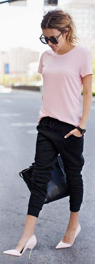 Dress up Your Jogger Pants with a Cute Top and Killer Shoes