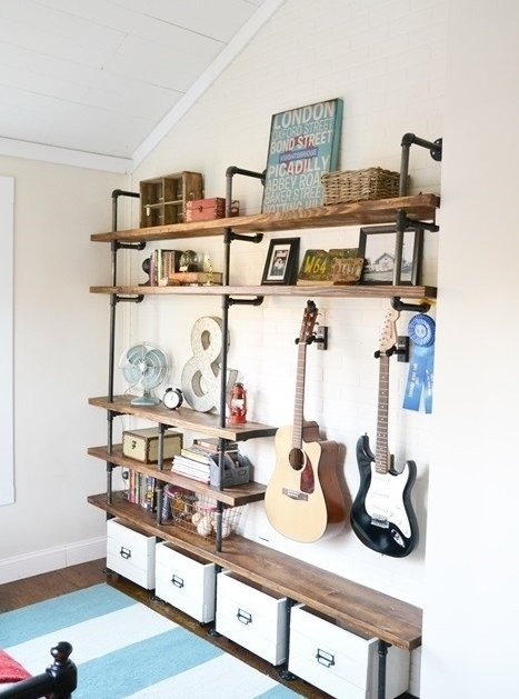 7 awesome industrial diy projects to try diy for Diy industrial bookshelf