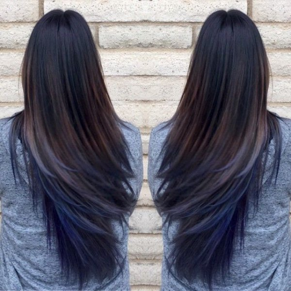 Make you want to try the oil slick hair trend blues purples oil love