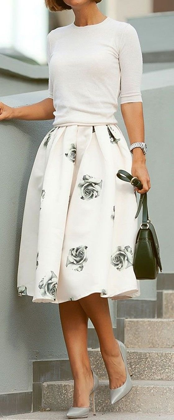 Grey Rose Midi Skirt