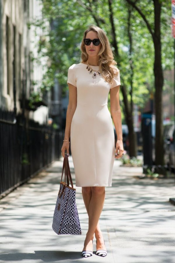 Neutral Dress and Chunky Necklace