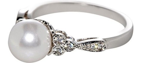 Pearl Ring Sterling Silver Ladies Jewelry
