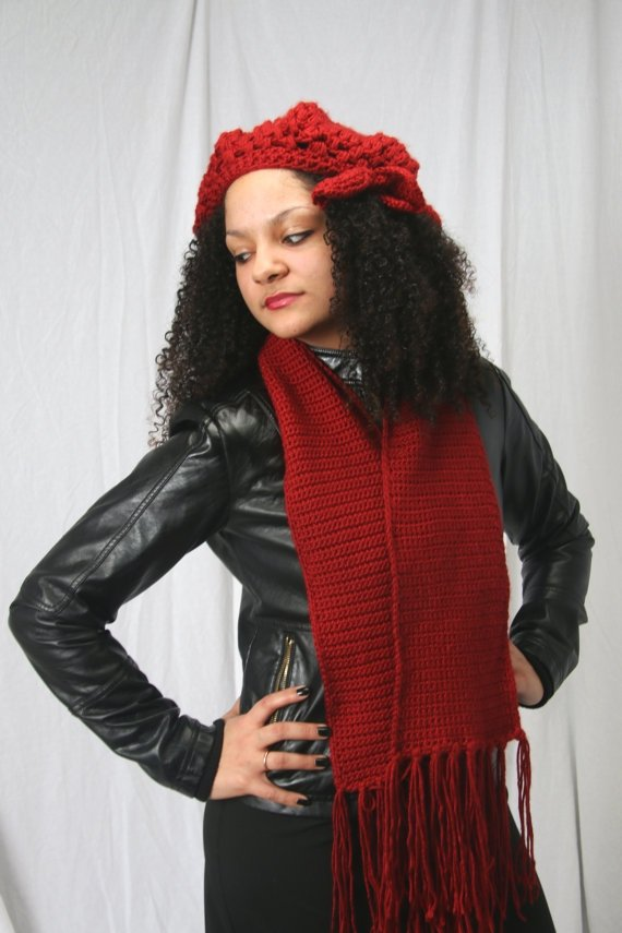 Crocheted Cloche Hat Set with Matching Fringe Scarf in Red