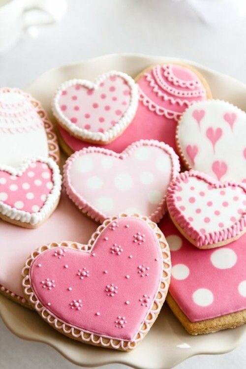 pink, food, dessert, heart, icing,