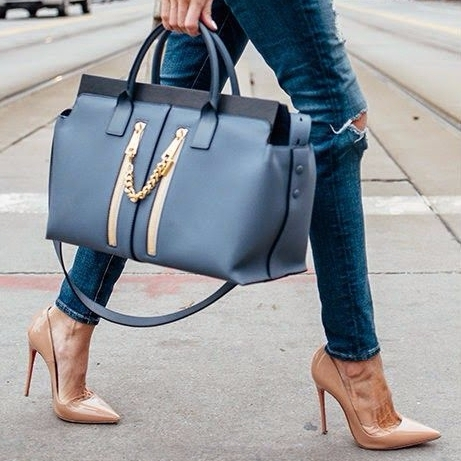 "Fact: It's All about the Accessories. Add Some ""oomph"" to Your Outfit with Nude Heels and a Killer Bag"