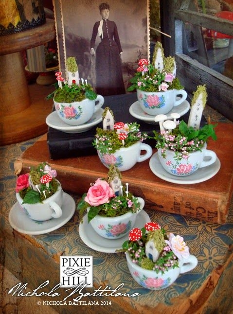 Tiny Tea Cups and Saucers with Little Flowers