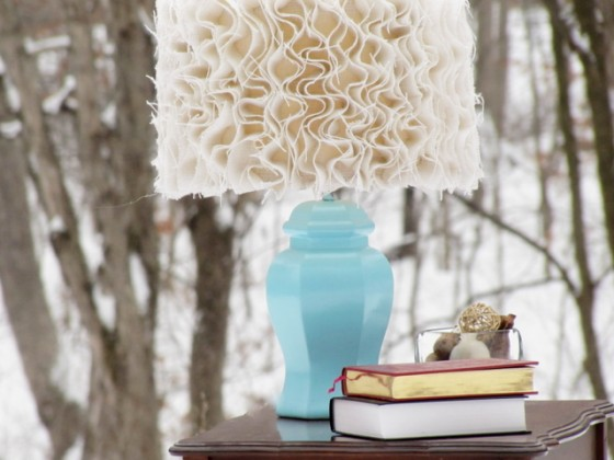 Anthropologie-inspired Ruffled Burlap Lamp