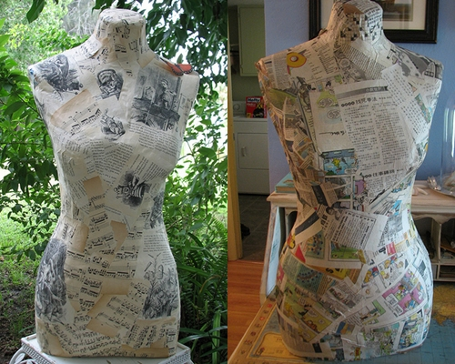 Dress Form - 12 Fun Crafty Projects Using Newspapers and Magazines…