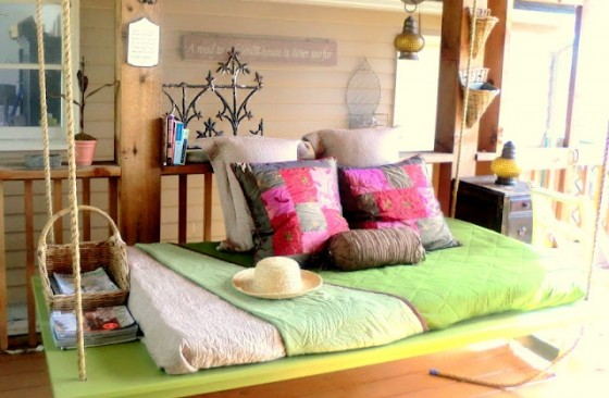 3. Dreamy Hanging Bed - 8 Amazingly Perfect DIY Porch Swings ...