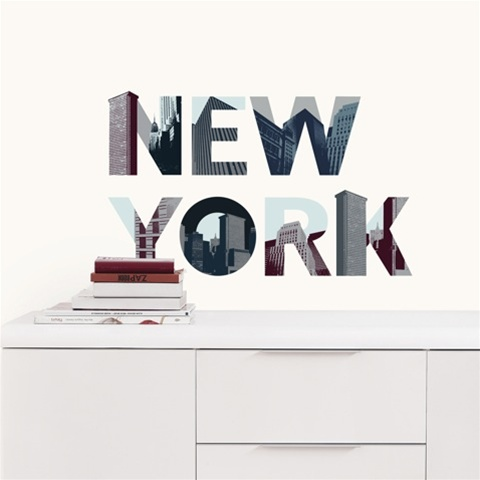 peel n stick new york wall d cor 18 dorm decorations. Black Bedroom Furniture Sets. Home Design Ideas