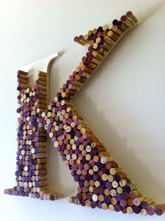 Wine cork monograms provide a fun way to reuse your corks while also