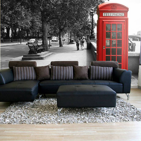 British telephone wall mural 7 cool wall murals to add for Cool wall mural