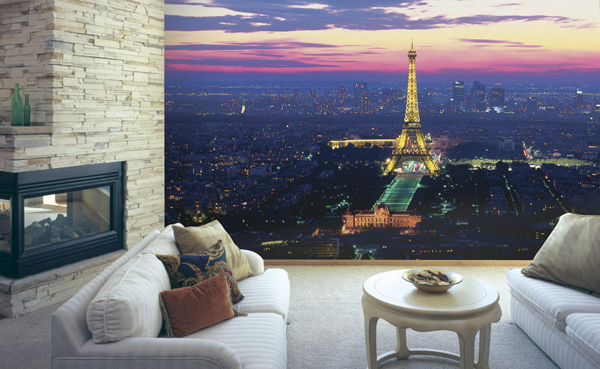 paris lights wall mural - 7 cool wall murals to add to your home's…