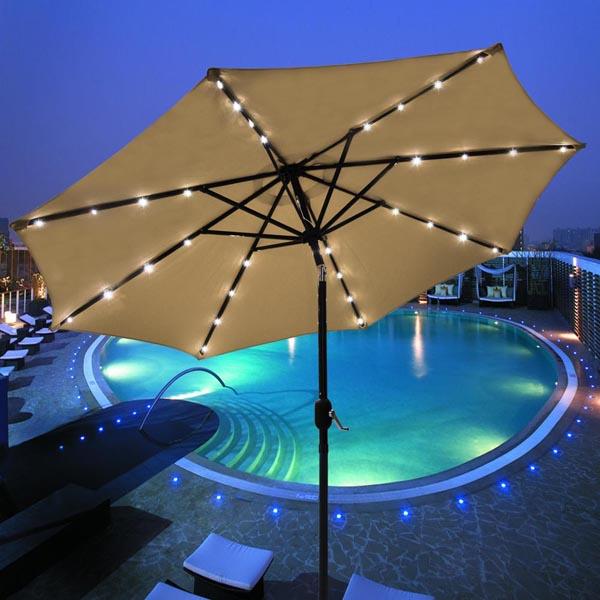solar panel patio umbrella 7 eco friendly gadgets. Black Bedroom Furniture Sets. Home Design Ideas