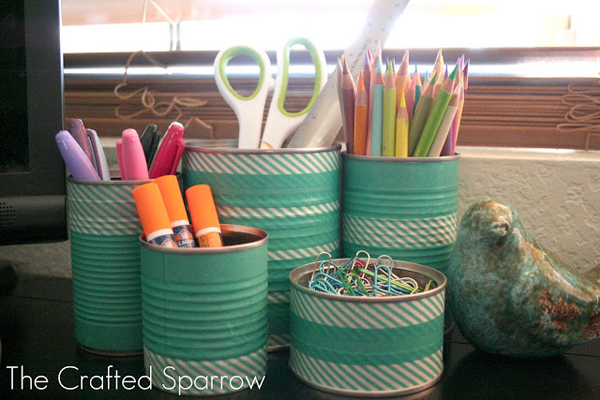 Tin cans 7 creative ways to decorate with washi tape - Washi tape ideen ...