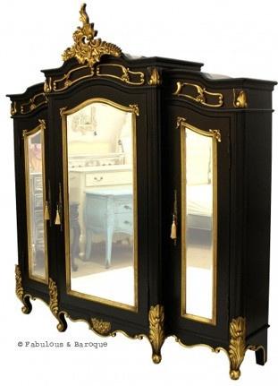 Micheline 3 Door Mirrored Armoire   Black U0026 Gold Leaf
