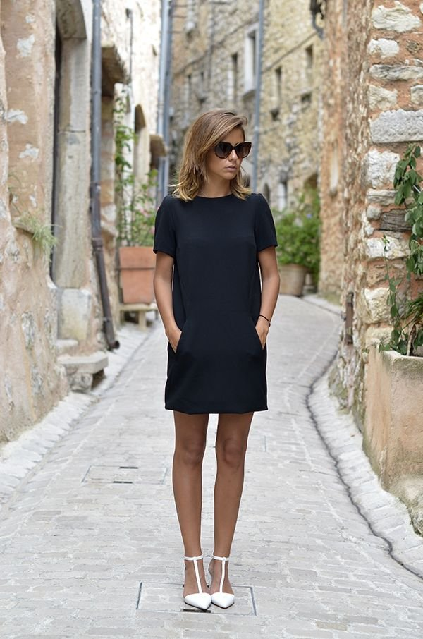 T-Strap Heels Take a Shift Dress from Simple to Edgy