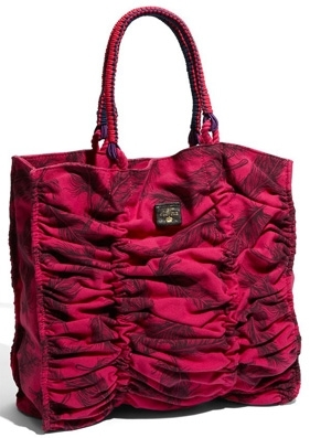 Juicy Couture Ruched Bungee Feather Print Tote