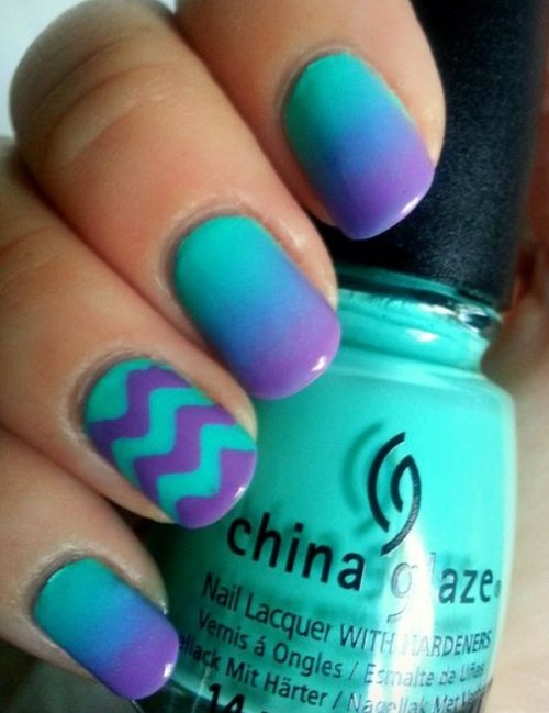 Best Purple and Turquoise Nail Art Design - Best Purple And Turquoise Nail Art Design - 43 Ideas For Ombre…