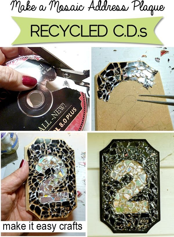 mosaic address plaque 35 ways to recycle old cds diy. Black Bedroom Furniture Sets. Home Design Ideas