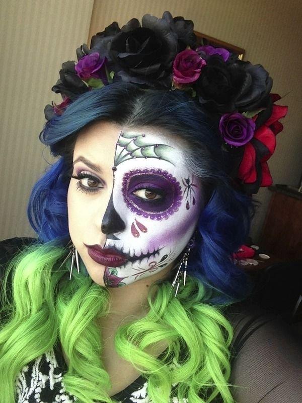 Häufig coloré - Une beauté envoûtante Sugar Skull maquillage trouvée sur… DH49