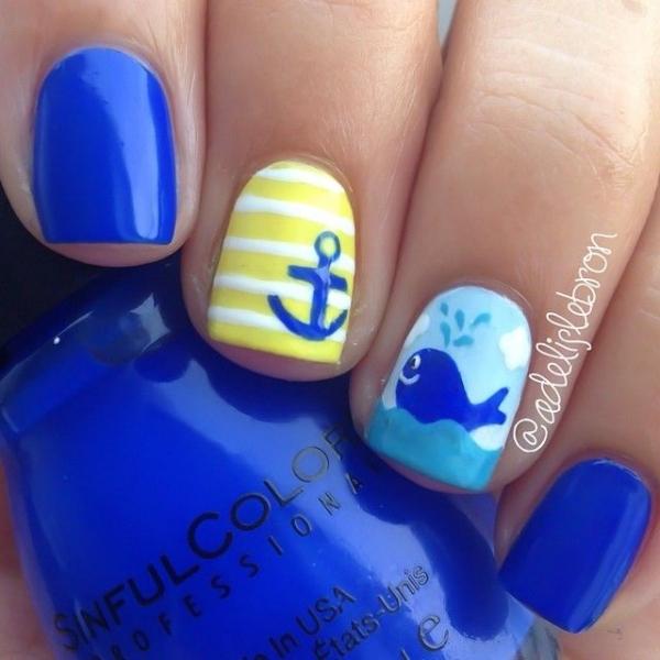What A Cute Whale 40 Awesome Beach Themed Nail Art Ideas To