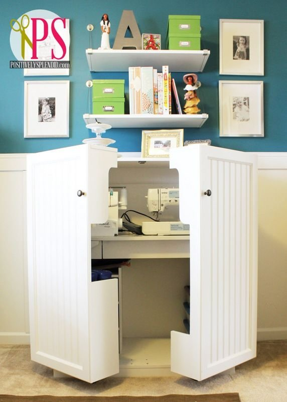 Hide it away 22 outstanding sewing room ideas for your for Small craft table with storage