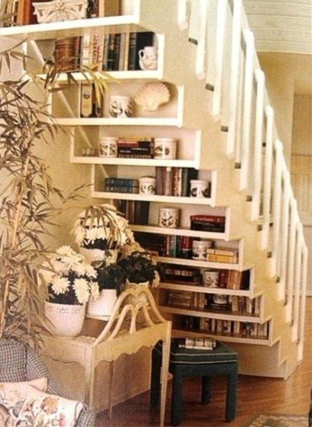 Another Way to Display Your Book Collection under the Stairs