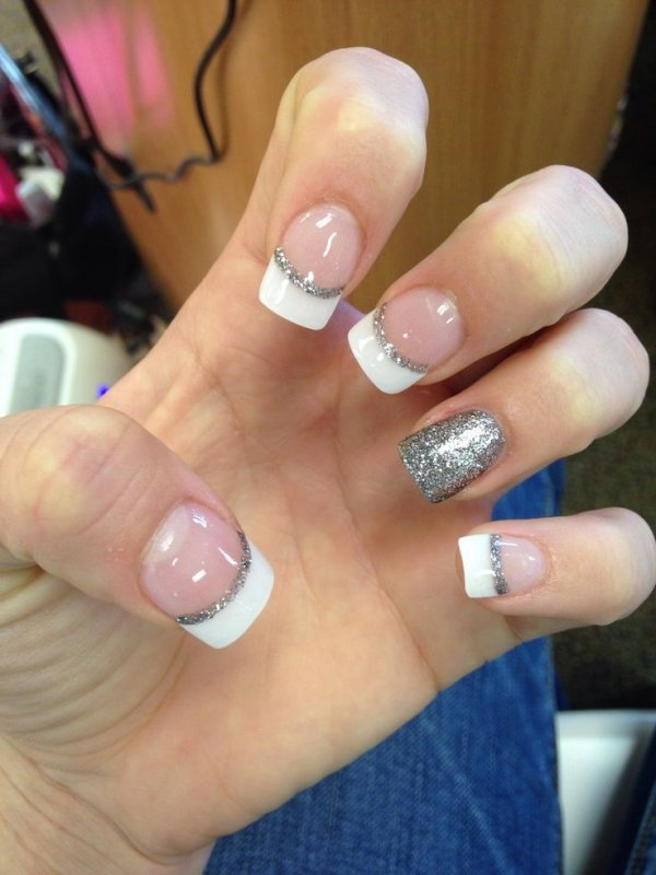 Simple French Tip With Silver Glitter Via Nails