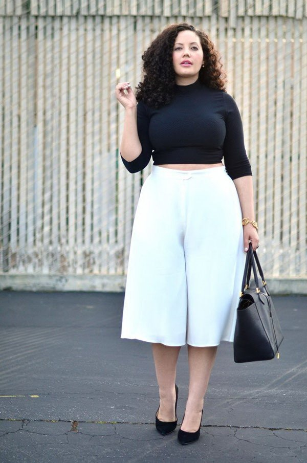 Turtleneck Crop Top with Culottes