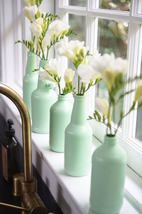Painted Bottles with White Flowers