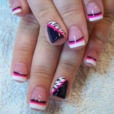 Pink, White, and Black French Tip Nail Design - 62 Fabulous French Tip Designs Nails