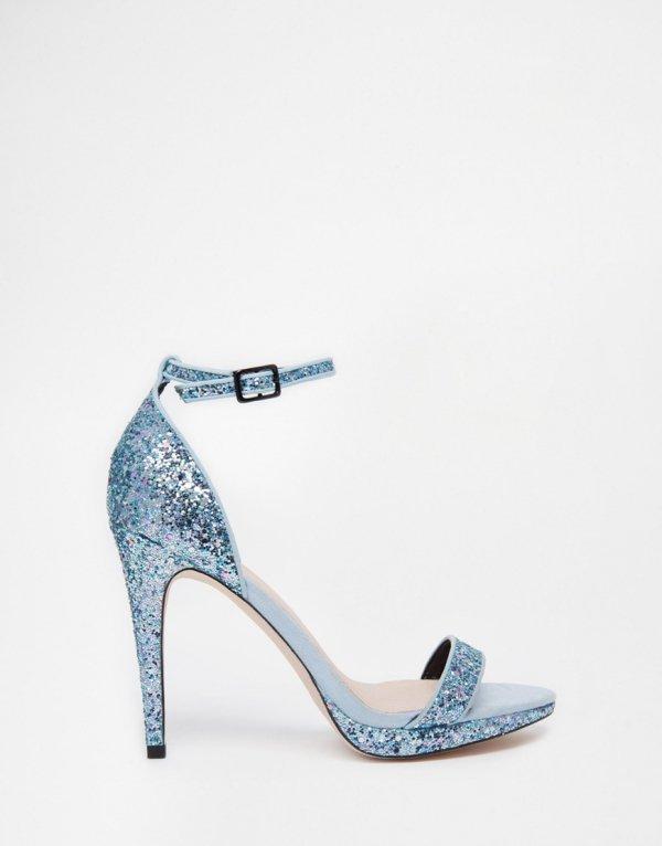 Faith Levin Blue Glitter Heeled Sandals