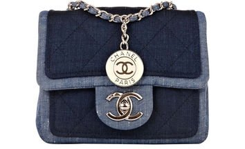 Chanel Quilted Denim Graphic Small Crossbody Flap Bag