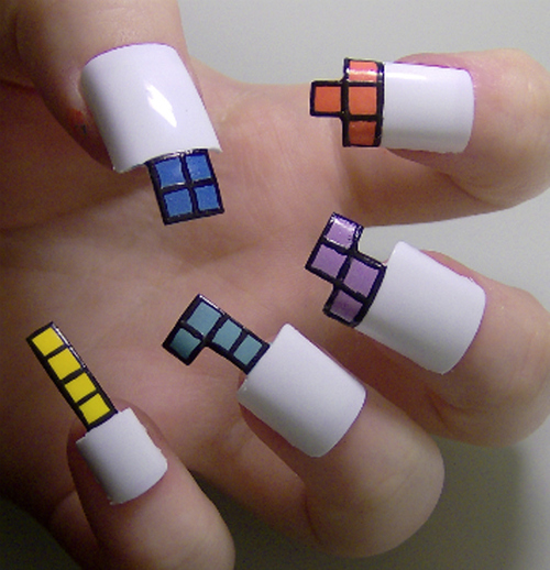 Tetris nails 9 examples of pop culture nail art of course this pop culture nail art example is not practical at all it is still really cool isnt it i love tetris and i think that having a tetris game prinsesfo Gallery