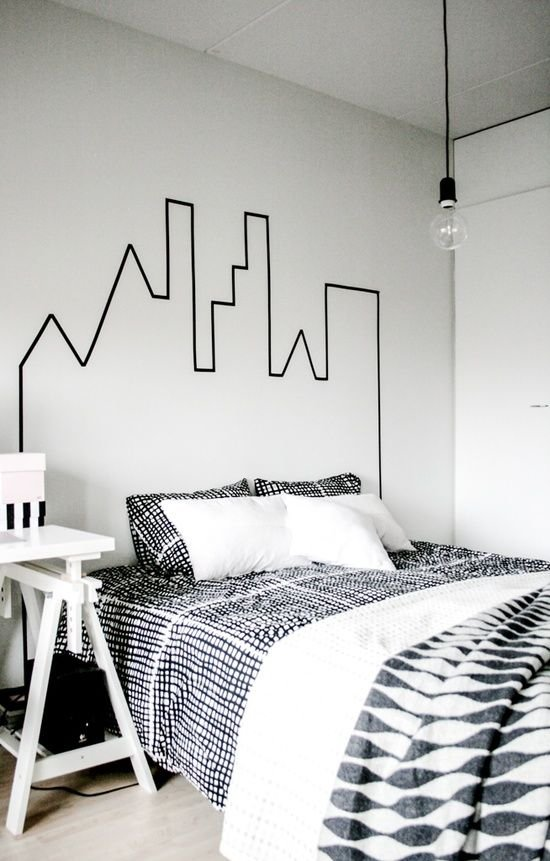 Make Your Hometown Skyline with Black Tape to Dress up the Walls