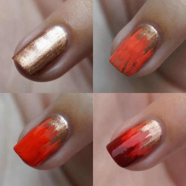 Diy Autumn Gradient Nail Art