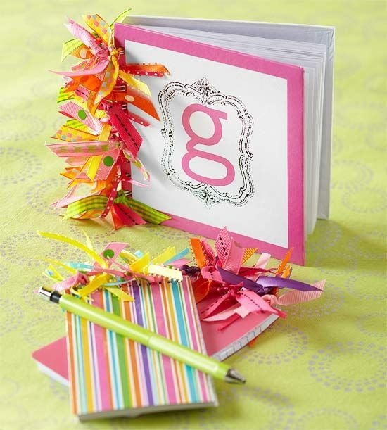 Ribbon embellished notebooks 53 ideas for diy journals for Craft ideas for women