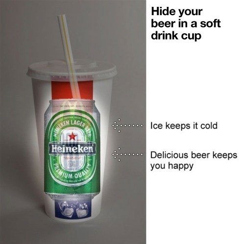 Hide Your Beer in a Soft Drink Cup