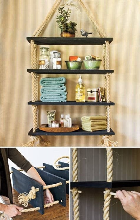 Build a Custom Shelving Unit with Rope and Wood