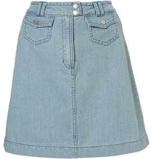 Topshop Bleached Denim Seventies High Waisted a-Line Skirt