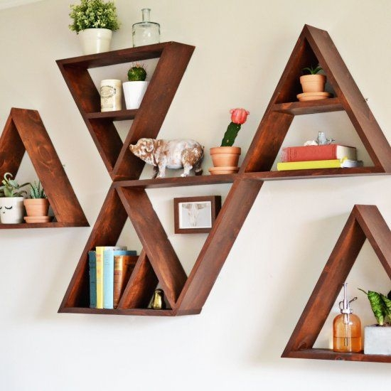 24 diy triangle shelf shelfies the best diy shelves for Mountain shelf diy