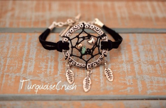 Black Suede Dreamcatcher Bracelet