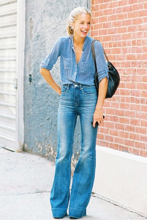 Go All the Way and Team Your Flared Jeans with a Denim Shirt
