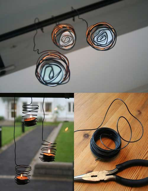 Wire tea light holders 33 awesome wire crafts to make for Diy hanging tea light candle holders