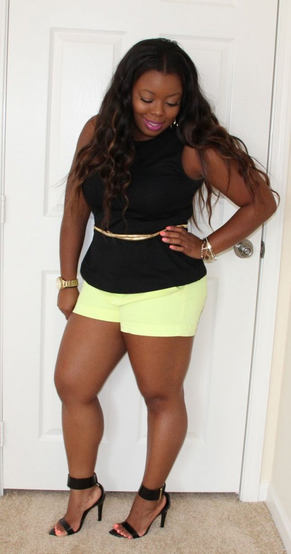 Soften Neon Shorts with a Neutral, Form Fitting Top