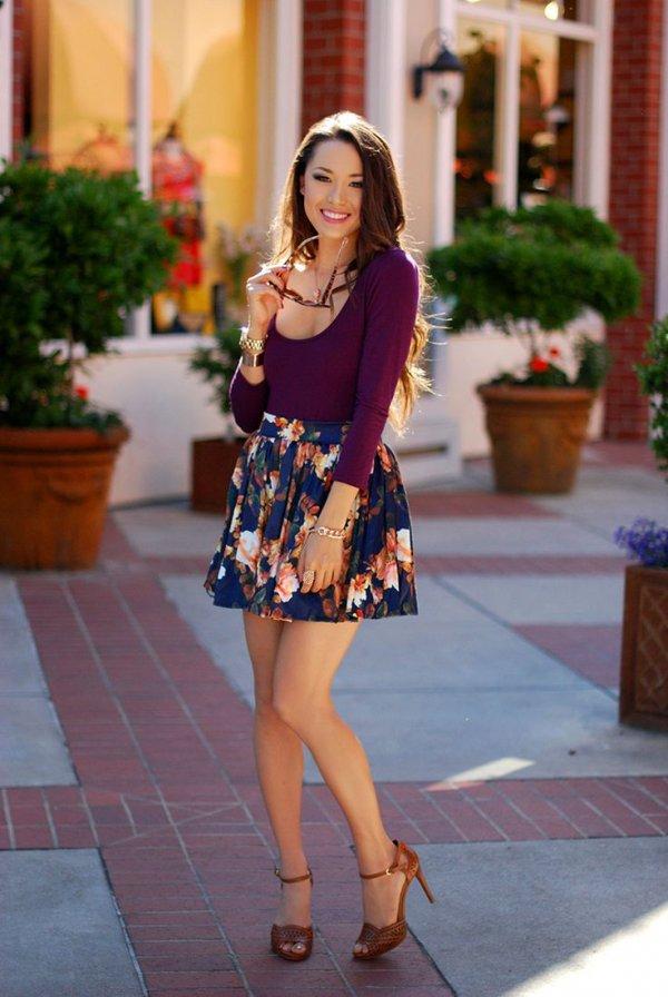 Floral Skater Skirt Outfits Floral Skater Skirt