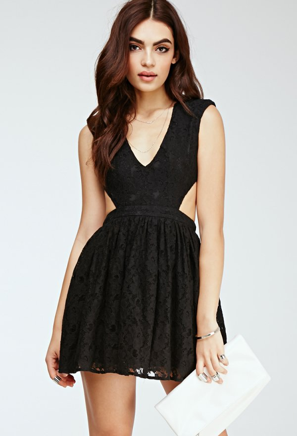 Forever 21 Floral Lace Cutout Dress