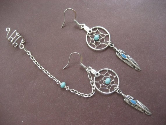 Turquoise Beaded DreamCatcher Asymmetrical Cartilage Helix Chain and Ear Cuff