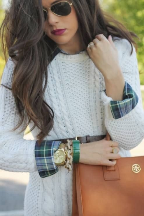 Layered under a sweater 9 creative ways to wear plaid for Plaid shirt under sweater